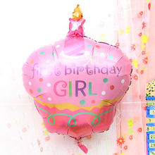 96x69cm helium foil happy birthday cheap mylar balloons birthday cake shaped party supplies baby kids birthday balloons(China)