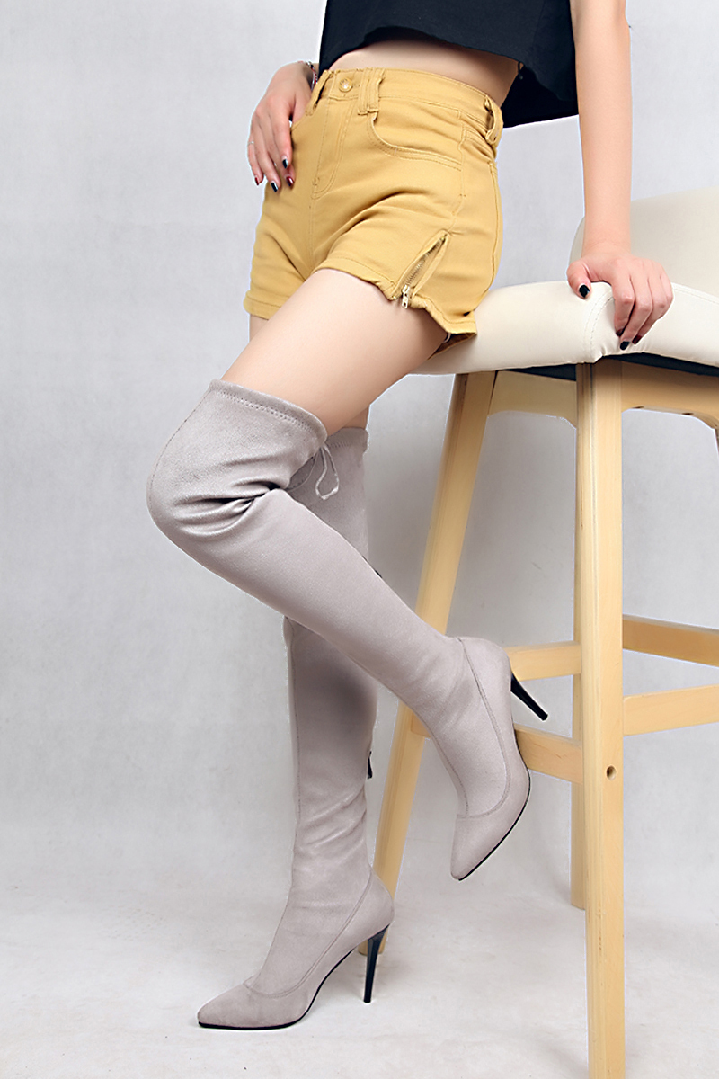 SHININGTHROUGH Shoes Women Boots Long Autumn Winter Thigh High Boots zip Over The Knee Boots Ladies High Heels Big Size 43