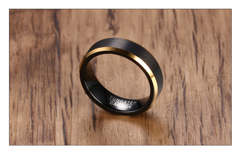 Meaeguet Black & Gold Color Tungsten Carbide Engagement Rings Jewelry Men Matte Brushed Wedding Bands USA Size 8-12 (3)