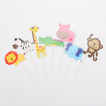 7pcs Christening Safari Wildlife Animal Cake Topper Kids Birthday Party Monkey Lion Zebra Giraffe Hippo Crocodile Cake Picker(China)