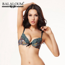 Buy BALALOUM Comfortable Women Sexy Bra Brassiere Flower Print Lace Embroidery 3/4 Cup Push Bowknot Lingerie Underwear 3 Colors