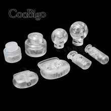 50pcs Ball Bean Cord Lock Stopper Toggle Clip Transparent Clear Frost Shoelace Sportswear Bag Parts Accessories Plastic #FLS002T