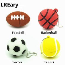 cartoon football basketball tennis usb flash drive silicone sports ball pendrive storage device Pen drive 4g 8g 16g 32g U disk(China)