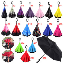 Windproof Reverse Folding Umbrella Double Layers Inverted Self Stand Inside Out Rain Protection C-Hook Hands E2S