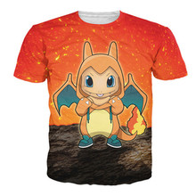 Women Men 3D Charmander Crewneck T-Shirt Cartoon Birdy T Shirt Sexy Pokemon Short Sleeve Summer Fashion Femme Camiseta Tee Homme