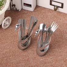 1 Set Nice Tableware Creative Swan  Holder Table Decro Decoration for Coffee  Fruit Forks Ladle Small Creative Tableware