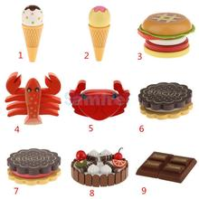 Wooden Magnet Connected Food Pretend Play House Kitchen Toy Preschool Kid Mini Ice Cream Cone Hamburger Cake Model Decoration