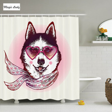 Shower Curtain Dog Decor Hipster Husky Heart Sunglasses Scarf Fashion Animal Polyester Fabric Bathroom Pink Cream Black 180*200c