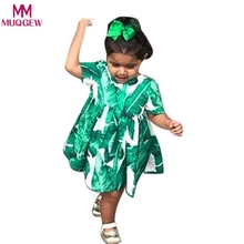 Girls Dress 2017 Desinger Kids Party Dresses for Girls Princess Costume Green&White Tropical Printed Robe Enfant Baby Clothing(China)
