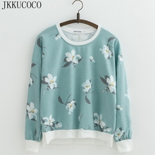 JKKUCOCO Hot sell Orchid Flowers Print Sweatshirts for Women sweatshirt Loose Cotton Hoodies O-neck Pullovers Female 22 Color(China)