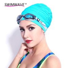 Elastic Ultrathin PU Fabric Protect Ears Long Hair Sports Swim Pool Hat Swimming Cap Free Size for Men Women Adults