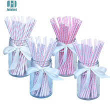 100pcs/lot Pink Paper Drinking Straws Drinking Tubes Party Supplies Decoration Baby shower(China)
