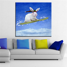Large size Printing Oil Painting the snow bunny Wall painting Wall Art Decoration Picture For Living Room painting No Frame(China)