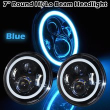 Pair 7 inch LED Car Motorcycle DRL Headlight Led headlight Spot Light lamp 5 color change Angel eyes 40W for jeep wrangler