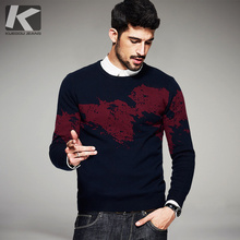 Autumn Mens Fashion Sweaters 100% Cotton Print Knitted Brand Clothing Man's Wear Knitwear Pullovers Knitting Clothes(China)