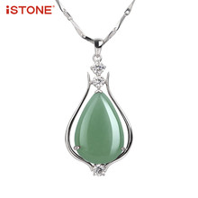 iSTONE 100% Natural Gemstone Green Jade Pendant S925 Sterling Silver Necklace Fine Jewelry Gifts For Girl Women(China)