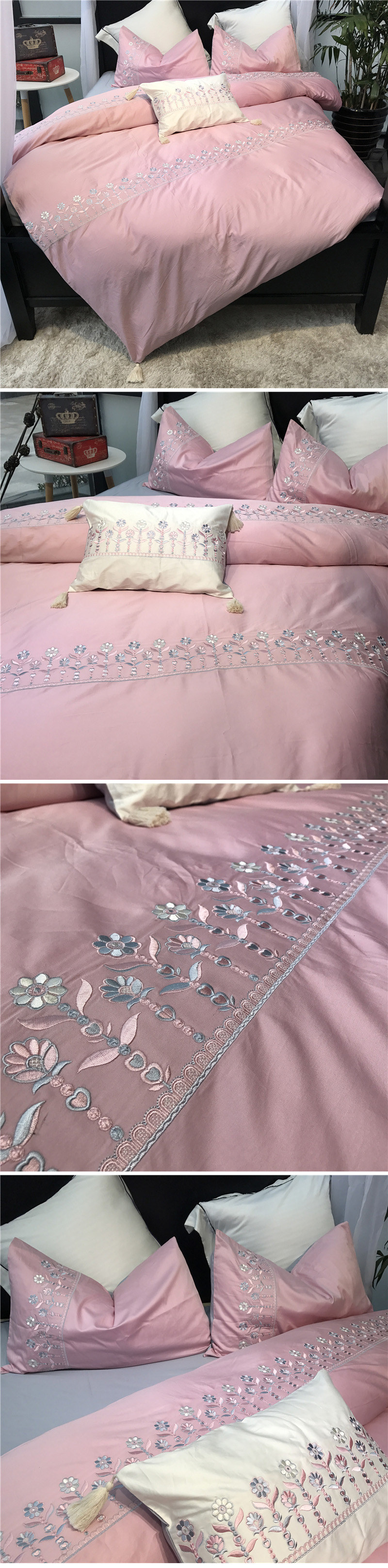 Wedding bedding sets king size 60s satin long staple cotton bed sheets romantic lace embroidery duvet cover bed linen 3
