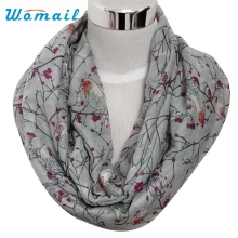 Womail Newly Design Women Lady's Fashion Birds Print Scarf Round O Ring Neck Soft Voile Scarves Dec15 Drop Shipping
