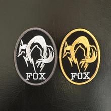20pcs Embroidery Fox Patch Army Tactical Emblem Hook Loops Military Badge Combat Armband Silver Gold Color 8.6*6.35cm(China)