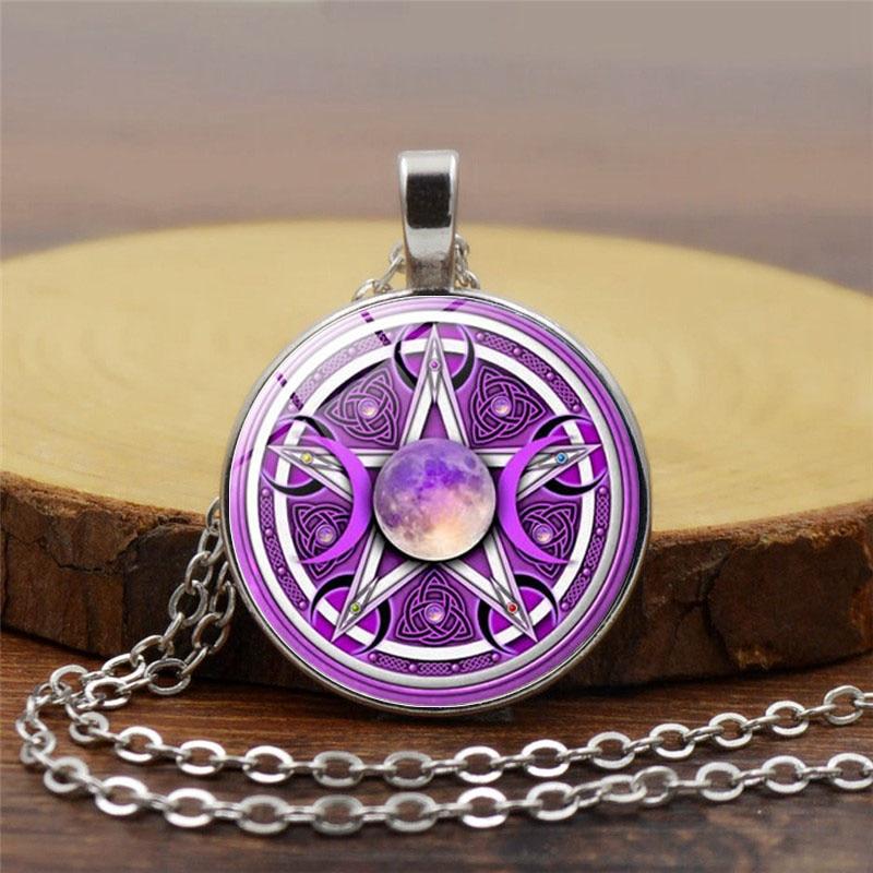 Mens necklace Charm Purple Triple Moon Goddess Pendant Pentagram Necklace Wicca Protection Crescent Moon Supernatural Amulet Necklace