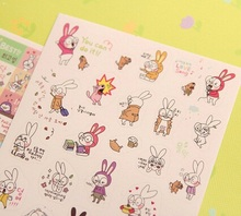 6pcs/set/ Korea cute Rabbit series DIY paper sticker set/seal sticker/decoration label/Wholesale