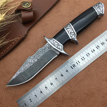 High-end good hunting knife Damascus blade VG10 core ebony + steel carved handle bowie outdoor knives camping self-defense tools(China)