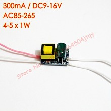 10pcs/lot 300mA 4-5x1W Isolated Led Driver 4W 5W Lamp Driver Power Supply AC 85V-265V 110V 220V