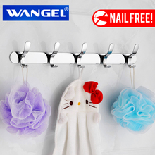 Free Shipping  WANGEL Stainless Steel Metal Wall Hook For Clothes Suction Nail Free Toilet Wall Hanger Hook Bathroom Accessories
