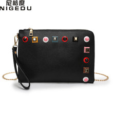 Color rivets Women's clutches for women evening bag fashion Envelope chain Shoulder Crossbody bag black and white clutch Handbag