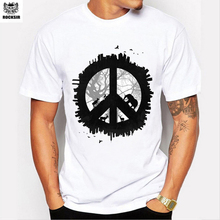 Rocksir brand+ Men's Fashion Tops Individuality Peace Logo Print Wild Trends White T-Shirt