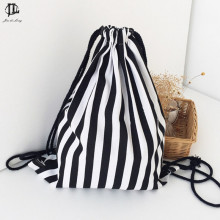 New Simple String Backpack Fashion Striped Backpack Women Travel Drawstring Bag Lady Girls Travel Shopping Backpacks Cotton(China)