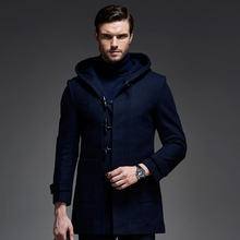 brand 2016 New Long Wool Coat Men Wool & Blends Winter Men Overcoat Fashion Mens Pea Coat Jacket(China)