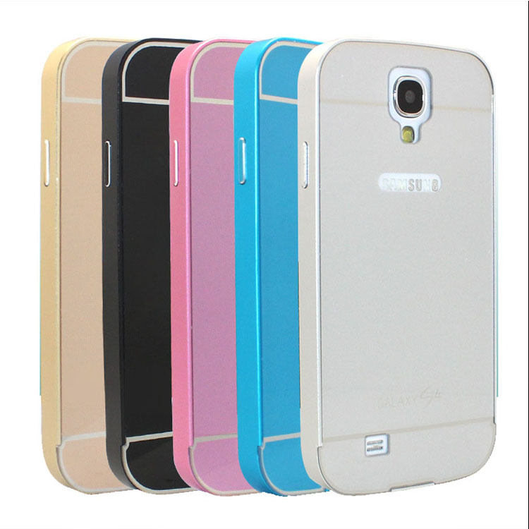 For Galaxy S4 I9500 Hybrid Aluminum Frame Bumper+Plastic Case For Samsung Galaxy S 4 I9500 Ultra Thin Phone Back Cover Shell(China (Mainland))