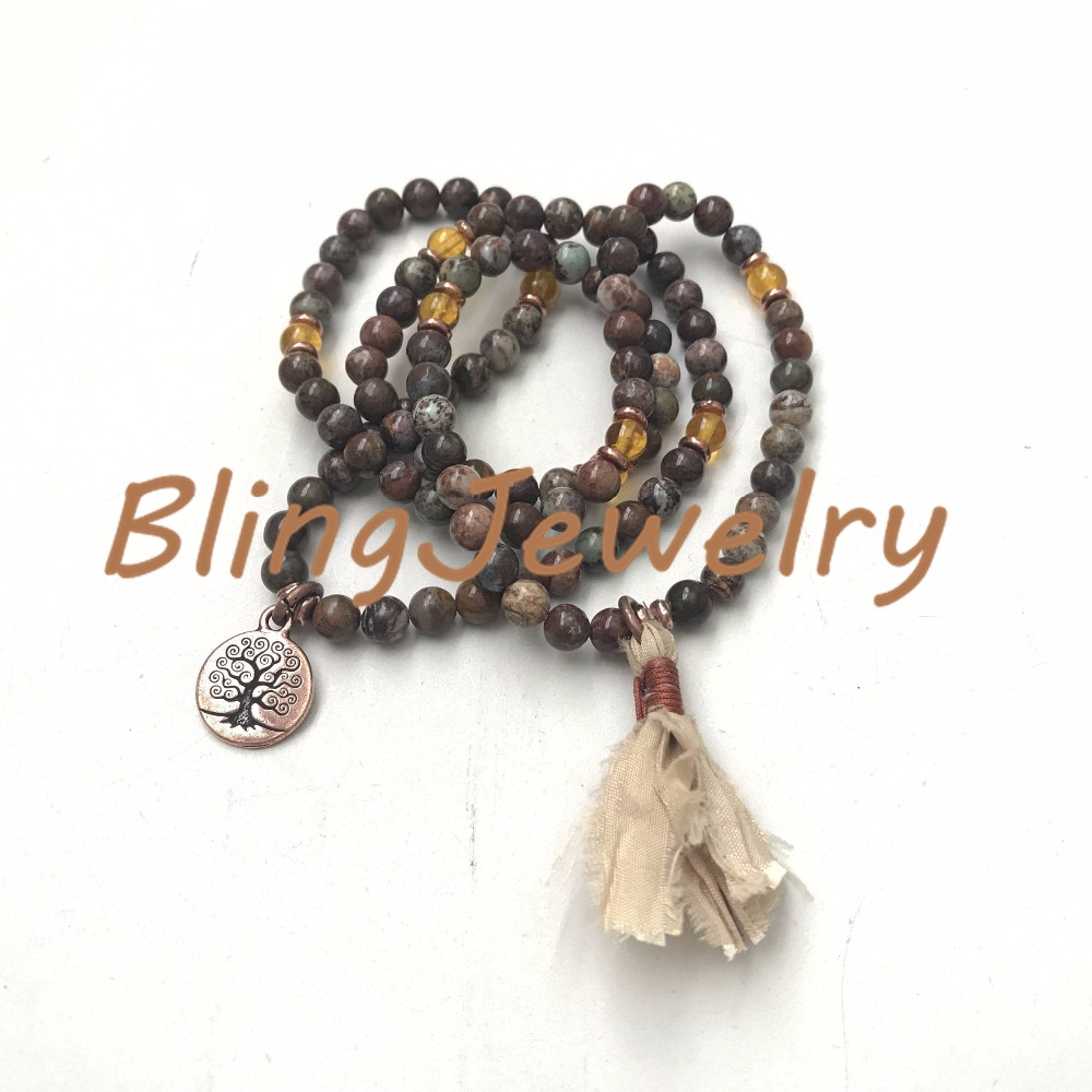 N17082544 Stretch Mala Beads, Brown & Green African Opal Mala Beads Mala To Wrap Around WristSari Silk Tassel (2)