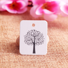 New 100Pcs/lot 8Colors Kraft Jewelry Tag 2.6*3.3cm Tree Design HangTags Rectangle Shape Paper Jewelry Card Price Tag Label