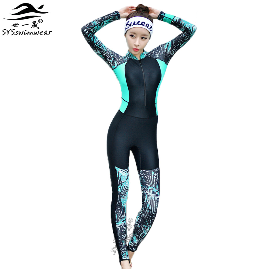 2017 New High Quality Summer Zipper Print &amp; Solid Patchwork Long Sleeves Surfing Swimsuit Women One Pieces Swimwear Snorkeling  <br>