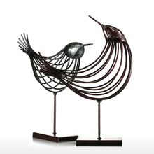 Tooarts Iron Wire Bird Metal Sculpture Wonderful Sculpture Bird Modern Artwork Favor Gift Home Decoration