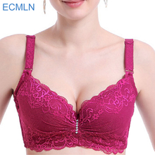 Plus size bra adjustable push up side gathering furu lace mm shaping C D  E cup underwear women