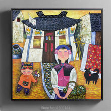 Oil Painting Hand painted Wall art Picture Modern Decorative canvas painting Chinese painter Fu Rongkai Mother and child #993