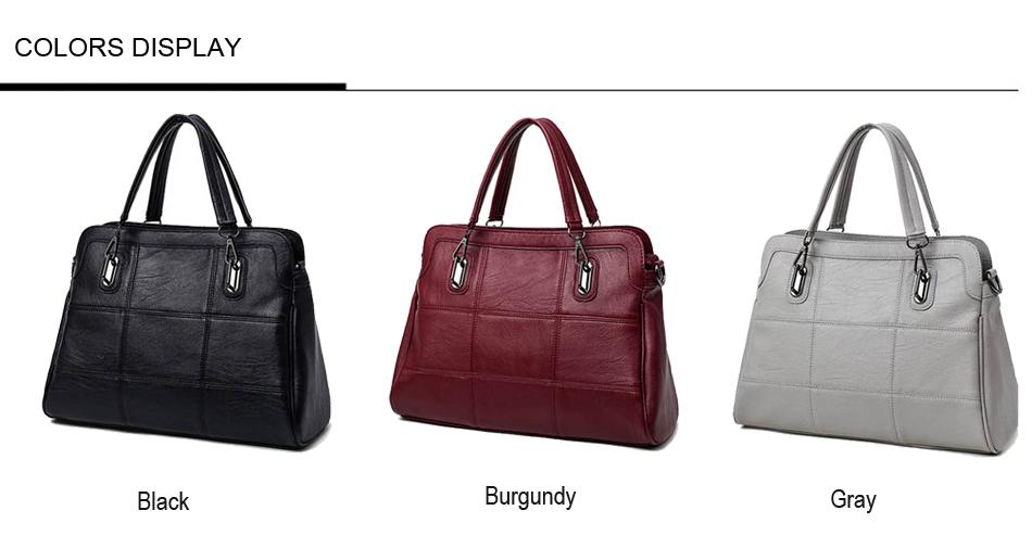 Bonsacchic Fashion Ladies Hand Bag Women's Genuine Leather Handbag Black Leather Tote Bag Bolsas femininas Female Shoulder Bag 3