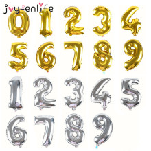 JOY-ENLIFE 1pcs 16'' Romantic Silver/Gold Alphabet  0-9 For Choose Foil  Balloons Baby Shower Birthday Party Wedding Supplies