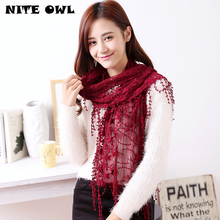 New Spring Lace Scarf  100% Cotton Women Lace Scarves Lady's Fashion Long With Tassel Shawls  RO1240