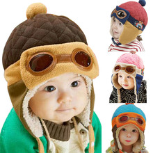 4 Colors Toddlers Cool Baby Boy Girl Kids Infant Winter Pilot Aviator Warm Cap Hat Beanie Ear Flap Soft Hat Free Shipping