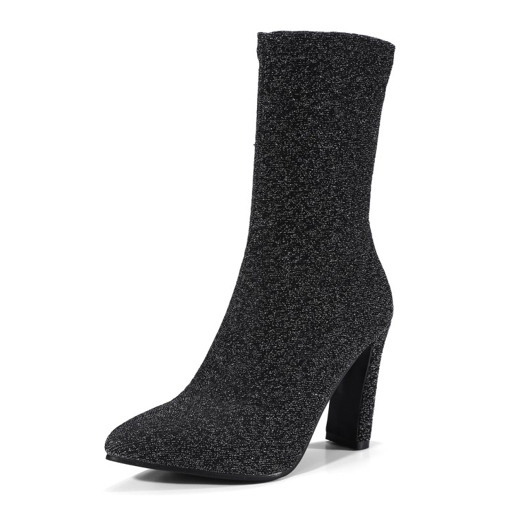 SALCXOI Big size womens shoes 41-43 spring/autumn women boots flock super high heels mid calf boots female free shipping &amp;B05-1<br>