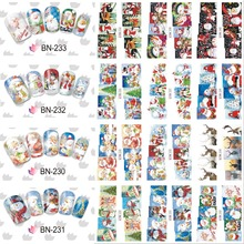 12 Sheets XMAS Nail Art Water Transfer Sticker Deer Full Cover Decals Merry Christmas Stickers Wrap Tips Decoration BN229-240