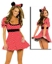 Comercio al por mayor de Halloween Cosplay Adultos Minnie Mouse Traje Del Envío Libre Rojo y Blanco Puntea Minnie Mouse Del Traje de Halloween