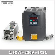 New!! 1.5kw Air Cooled Spindle Motor kit cnc Spindle Motor + 220V/1.5KW Inverter Square Milling Machine Spindle Square.