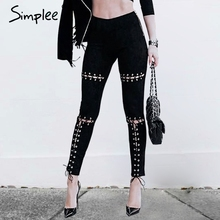 Simplee Suede bodycon high waist pants capris leggings Lace up burr hole sexy trousers women Black pencil pants female bottom