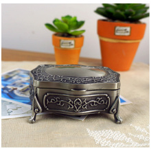 Antique Carved Elegant Crate Drops Princess Jewelry Box Retro Metal Decor Storage Collection Boxes European-style Bronze Case(China)