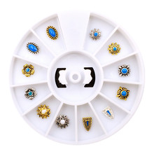 3D Design 1Box/Lot Retro Bohemia Gold Silver Sunflower Oval Turquoise Box Set Metal Alloy Nail Art Decorations  Nail Stickers
